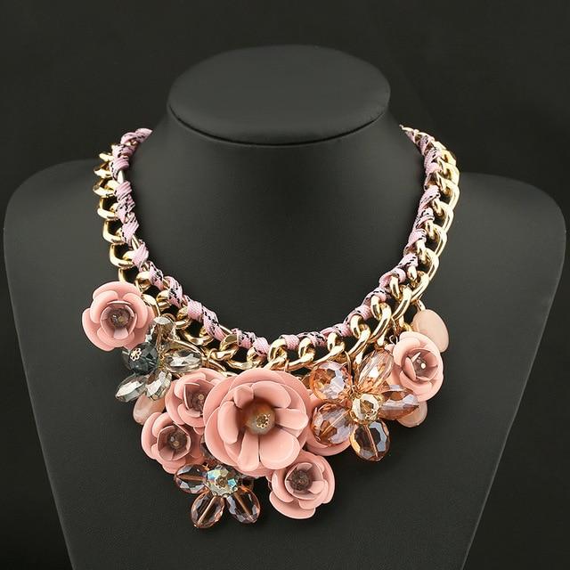 PINK Necklaces & Pendants Hot Sale Brand ZA Big Resin Crystal Flower Luxury Vintage Choker Statement Necklace Fashion Jewelry
