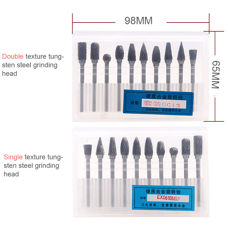 10PCElectric Grinding & Polishing Head Carving Tool DIY Texture Rotary Wire Drawing Drill Set Carpentry Cutting Rotary Sharpener