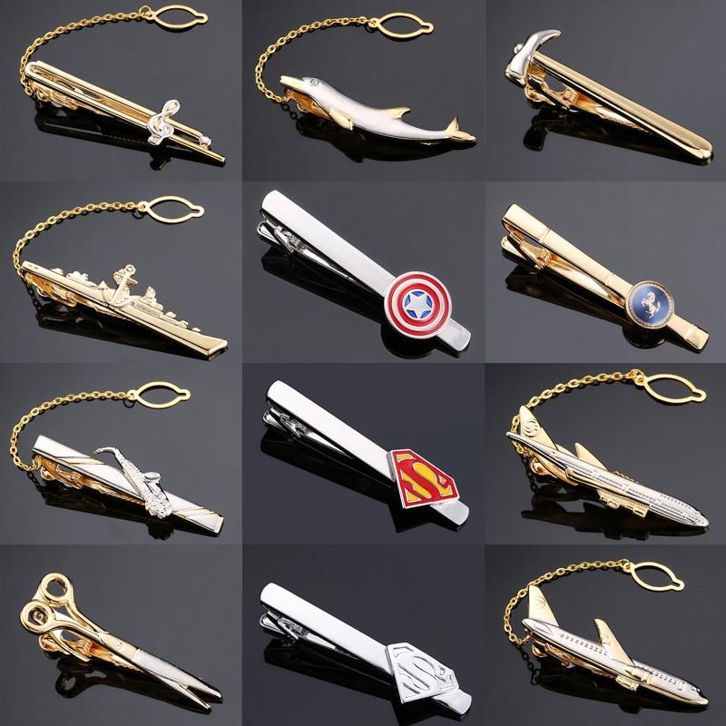 Mens Tie Clips Male Formal Business Suit Necktie Clip Clasp Music Sax Plane Metal Tie Clip Pins Fashion Men Superhero Jewelry