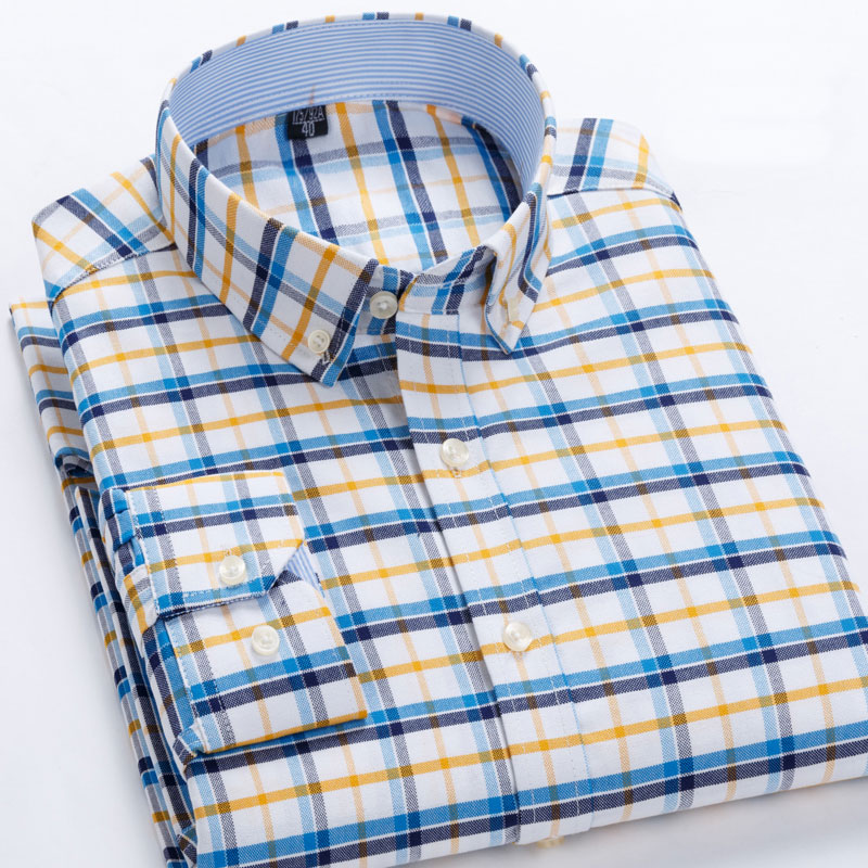 100% Baumwolle Oxford Plaid Business Casual Männer Shirts Langarm Frühling Neue Design Taste-unten Kragen Marke Qualität Männlichen Shirts
