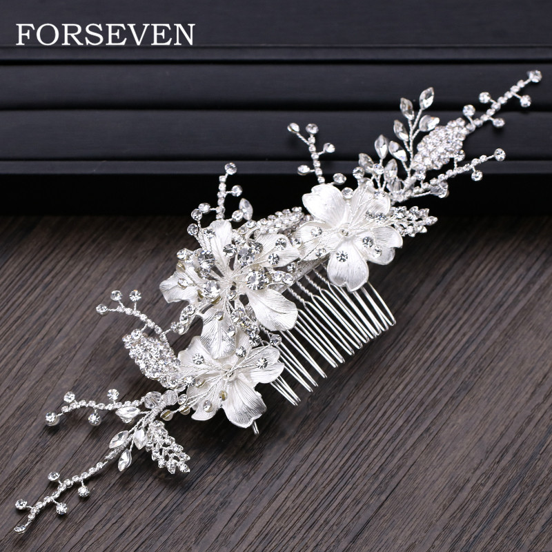 Bridal Hair Comb Wedding Hair Accessories Silver Flower Headbands Rhinestone Women Hair Combs Headdresses for Girlfriend цена