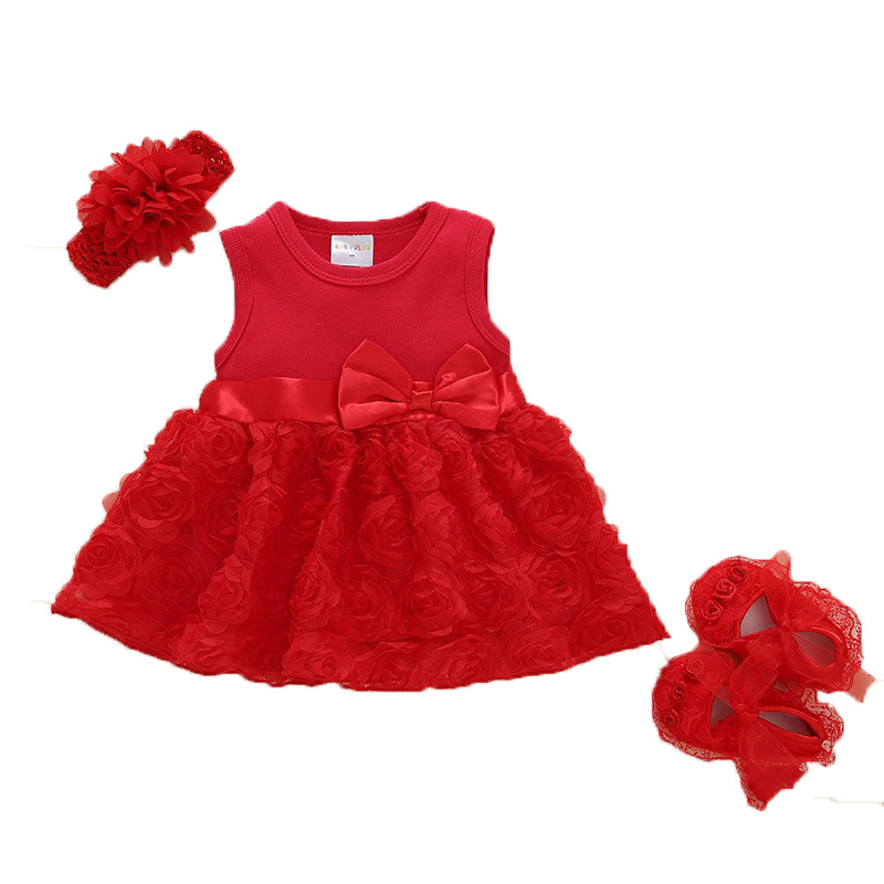 Summer cotton Tulle baby girl dress headband set dress for newborn Infant 1st birthday gift pink and red infant dress