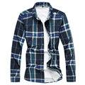 Повседневная Мужская Рубашка Плед Рубашки С Длинным Рукавом Мода Рубашка Хлопка бренд Мужской Рубашки Подходят Молодые Мужчины Модный Современный Вид Гент Жизни