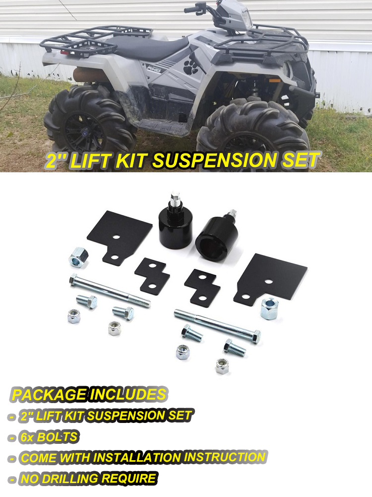 Perfect accessory ATV Lift Spacers Kit Set Between 2.25-2.5 Shock Absorber For Polaris Sportsman 500 600 700 800 Suzuki King Quad 400 450 750 Fitted parts Color : Black
