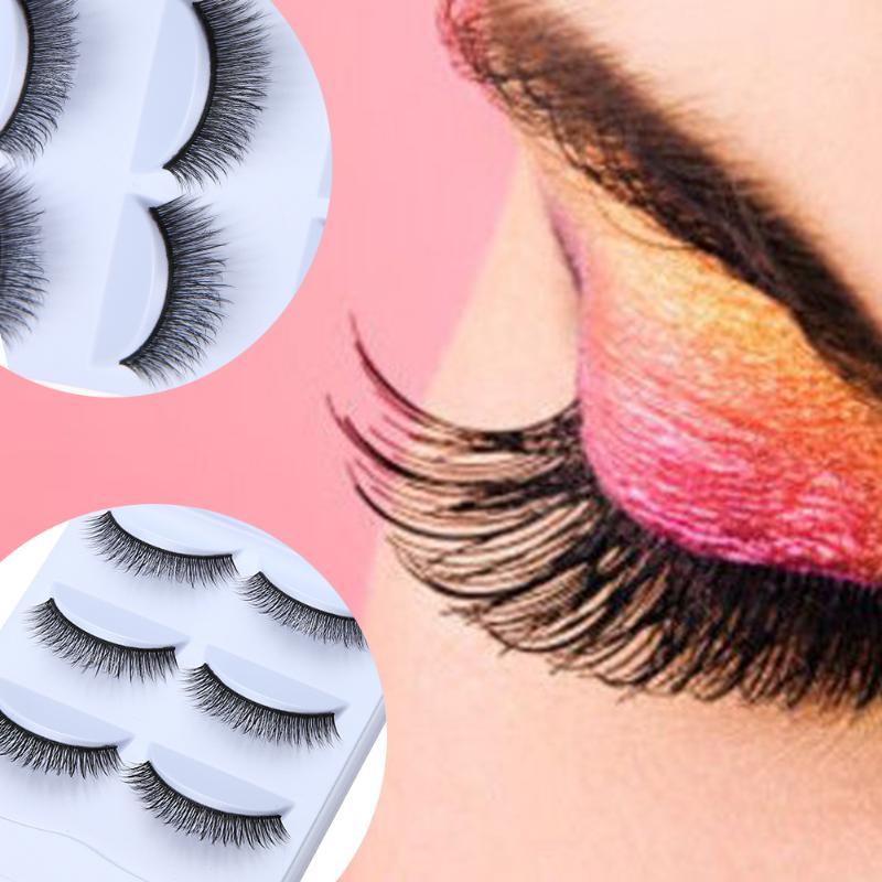 100% Mink Hair 3 Pair/Set 3D Cross Black Thick False Eyelashes Eye Lashes Extension Makeup Super Natural Long Fake Eyelashes