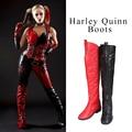 Zapatos de Cosplay Batman Harley Quinn Arkham Knight Cosplay Botas de Caza Botas Sobre La Rodilla Botas de Las Mujeres Adultas Zapatos Hechos A Medida