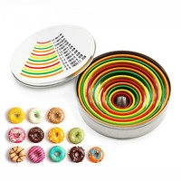 XEJONR 12pcs Stainless Steel Cake Cutters Mousse Cake Ring Colorful Donuts Cake Mold 12 Sizes Round Shape Mousse Baking Moulds