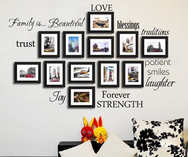 02865bc5c Beautiful Characters English photo frame wall stickers 3D art murals home  decoration Creative Decorative photos