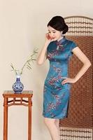 شنغهاي قصة قصيرة الأكمام الركبة طول فستان تشيباو شيونغسام الزهور طبقة واحدة النمط الصيني الشرقية اللباس للمرأة