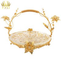 1Pcs Metal Glass Fruit Serving Tray Golden Flower Plate Decorative For Wedding Party Supplies And Home