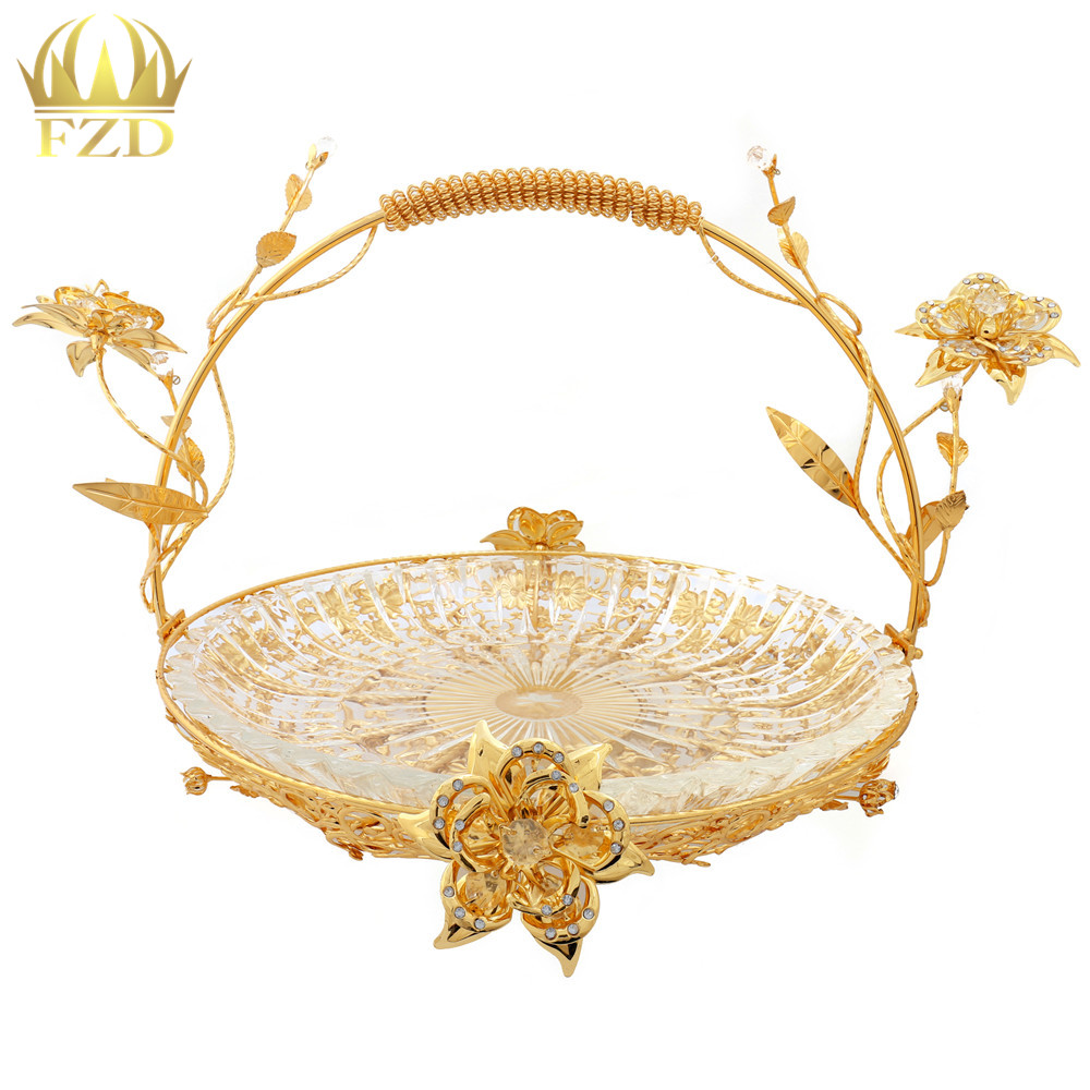 1Pcs Metal Glass Fruit Serving Tray Golden Flower Plate Decorative for Wedding Party Supplies and Home Decoration LX 137