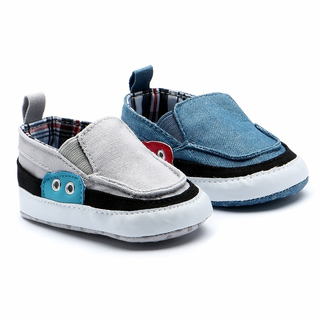 9162bfc46f56c US $3.49 30% OFF|New Grey Baby Boy Shoes Breathable Canvas Soft Bottom  Little Boys Casual Shoes Baby Sneaker Infant Booties Toddler Loafer 0 18M  -in ...