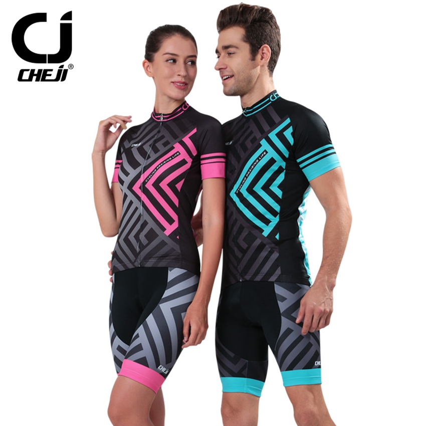 CHEJI Couple Models Bike Cycling Clothing Sets Roupa Ciclismo Breathable Racing Bicycle Cycling Jersey Short Sleeve Sportswear 2016 custom roupa ciclismo summer any color any size any design cycling jersey and diy bicycle wear polyester lycra cycling sets
