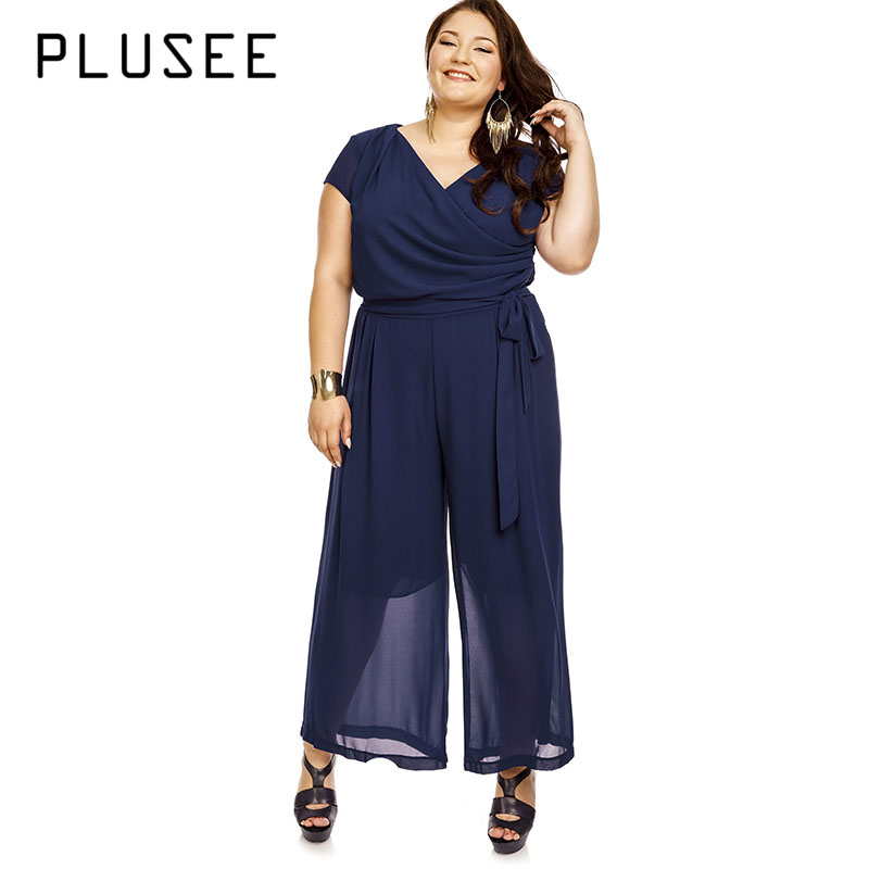 Plusee Plus Size Spring Jumpsuit 4XL 5XL Women Plain Dark Blue Chiffon Loose Office Jumpsuit Autumn Plus Size Female Bodysuits