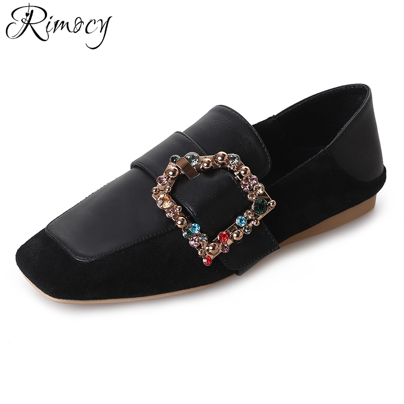 Rimocy crystal buckle slip on flats women 2018 spring new fashion flat heels loafers plus size 42 soft sole casual shoes woman hot sale shoes new fashion spring women flats shoes bow toe slip on flat women s shoes plus size 36