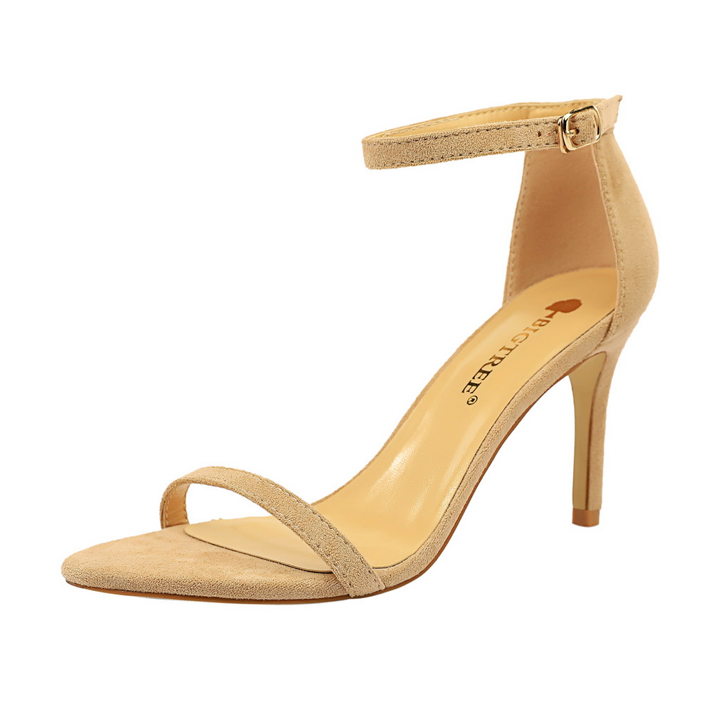 Women's High Heels Sandals Ankle Strappy Flok Thin Heels Dress Party Pumps Shoes Summer 2019