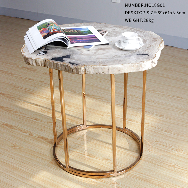 Natural Petrified Wood Fossil Desktop End Table Coffee Table Night Stand Nordic Style Home Furniture NO18G01