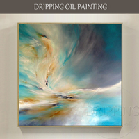 Artist Hand painted High Quality Twisted Abstract Sky Oil Painting on Canvas Abstract Turquoise Sky Oil Painting for Living Room