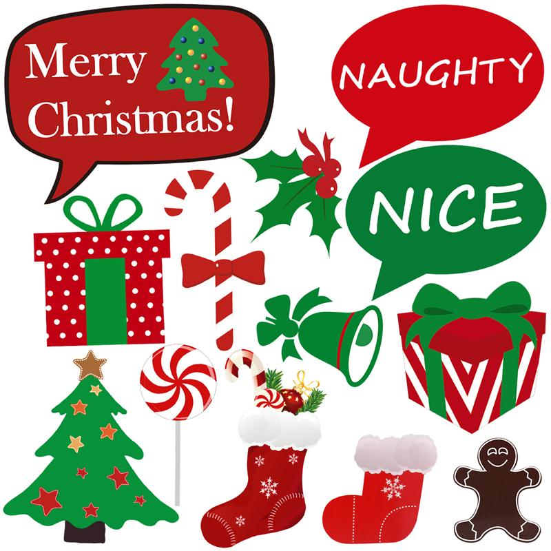 NICEXMAS 43pcs Christmas Party Photo Booth Props Merry Christmas ...
