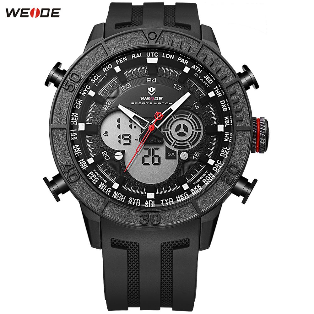 WEIDE Sport Multifunction Stopwatch Digital Analog Date Watches Men Original Quartz LED Digital Movement Dual Time Zones Display цена