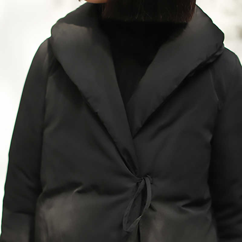 [EAM] 2018 Новинка Auutmn лацкан с длинным рукавом черный короткий Свободный теплый пуховик Женское пальто Мода Tide JK128