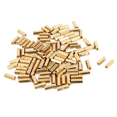 100 Pcs <font><b>M2</b></font> Female Thread <font><b>Brass</b></font> Pillar <font><b>Standoff</b></font> Hexagonal Spacer 8mm Length image