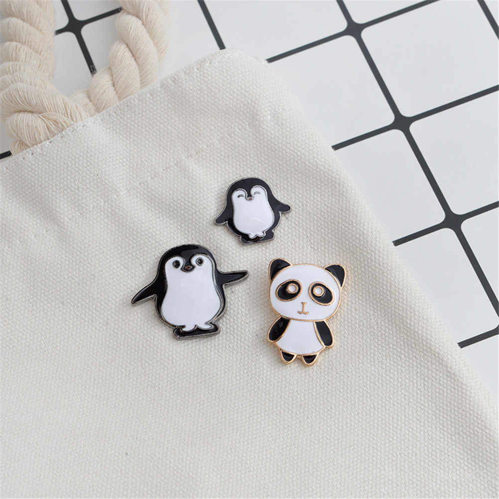 Desenhos animados bonito esmalte pino pinguim panda animal anime ícones broches feminino crachá jaqueta chapéu jóias broches