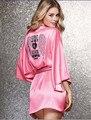 Sexy Camisones Camisones de Seda del Faux Mujeres Sexy Bata de Encaje Diamante Caliente ropa de Noche Atractiva del Satén Ropa de Dormir