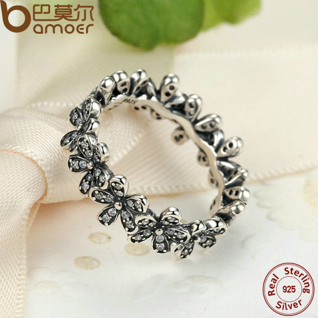 Sterling Silver Flowers Finger Dazzling Ring