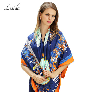 Image 3 - 2020 Vintage Square Silk Printed Bandanas for Women Luxury Brand Pashmina Scarf Shawl Twill Silk Bandana Wholesale 130*130cm