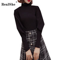 RealShe Women Shirts 2018 Autumn Elegant Femmale Turtleneck Puff Sleeve Solid Blusas Ladies Casual Shirt Tops