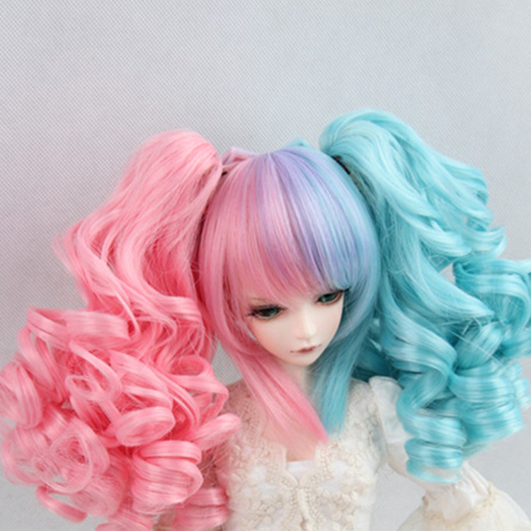 Immediately shipped 1/3 1/4 1/6 BJD / SD doll wigs fairyland minifee mio wig gradients double ponytail curls