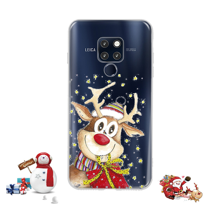 Lovely Santa Claus Elk Case Huawei Mate 20 Pro Case Cartoon Christmas Painted Cover Soft Cases Huawei Mate 20 Mate20 Plus