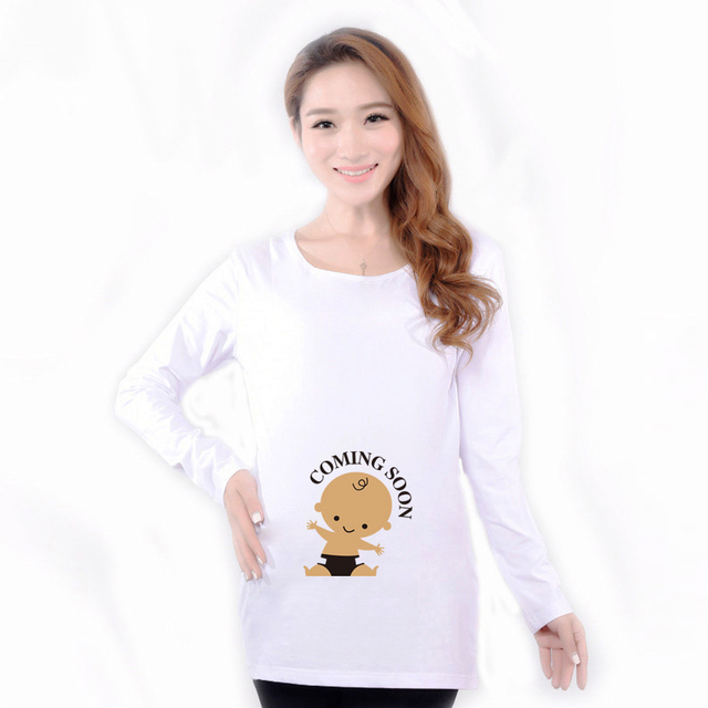 Black Cotton Pregnant Tops Tees Clothes Maternity Funny Baby Peeking Out Shirts Pregnancy Wear Clothing Pregnancy Clothes Autumn