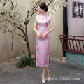 National Trend Pink Chinese Women Dress Traditional Silk Satin Qipao Elegant Dripping Long Cheongsam S M L XL XXL XXXL WC064