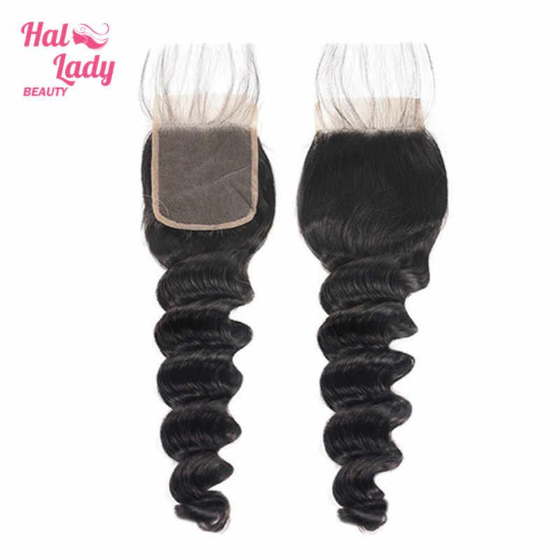Halo Lady beauty свободные глубокие синтетические волосы волнистые 130% густые натуральные волосы 4*4 Кружева бразильские волосы с закрытием закрытие бесплатная часть