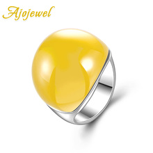 Size 8-10 Ajojewel Brand Fashion Meus Pedidos Jewelry Yellow Opal Ring