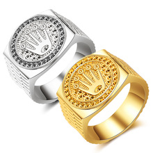 Jewelry Fashion Hip hop / rock Crown Ring For Men and Women Gold