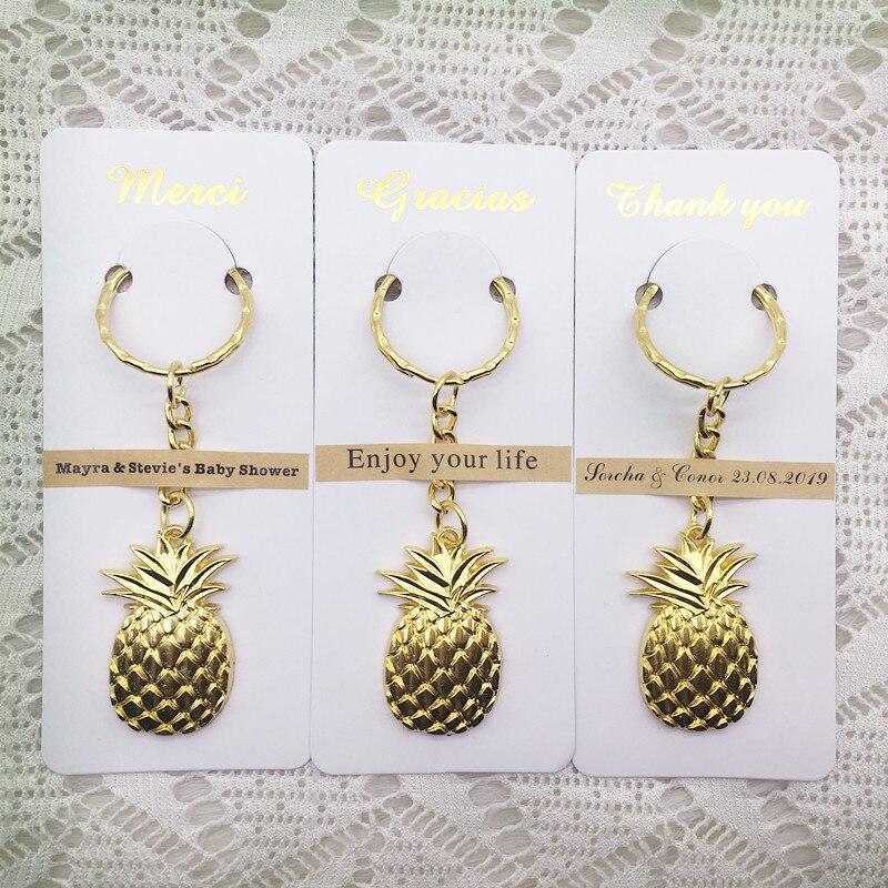 100 sztuk/partia ślub sprzyja upominki na imprezę urodzinową dla gości złoty kolor ananasowy brelok z spersonalizowane karty dziękuję w Prezenty imprezowe od Dom i ogród na  Grupa 1