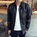 O novo estilo Europeu rua colarinho homens jaqueta de couro da motocicleta jaqueta de couro Fino jovens do sexo masculino