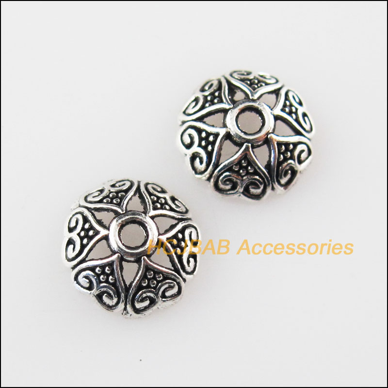 30 New Flower Star Charms Tibetan Silver Tone Spacer Beads 8mm