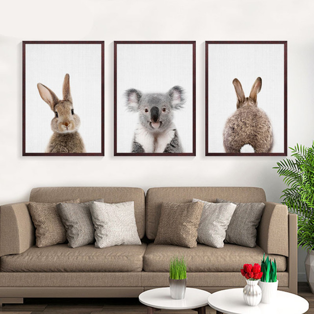 Kawaii Animals Rabbit Art Prints Poster Nursery Wall Picture Canvas Painting Kids Room Decor No Frame FG0105