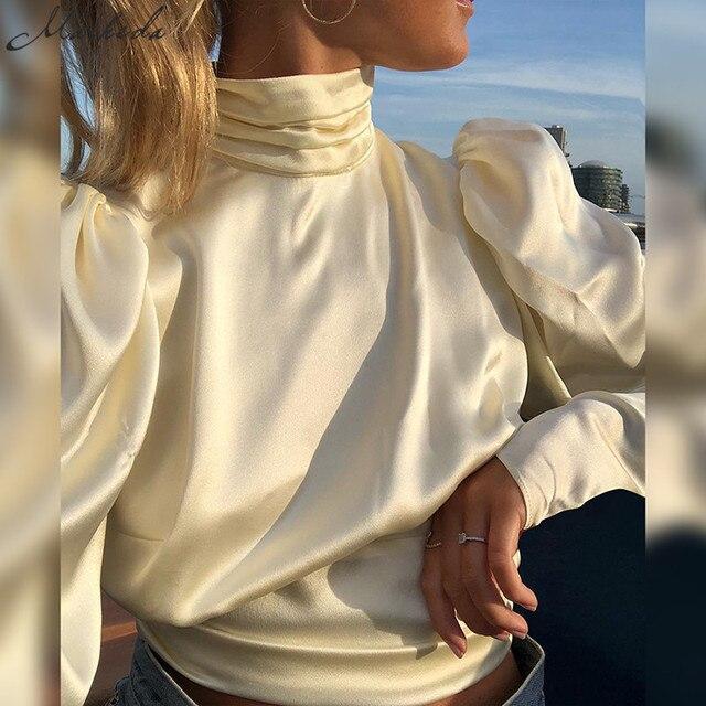 Elegant High-necked Puff Sleeve Shirt  3