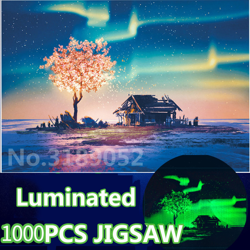 High Quality Luminous Puzzle Toy Wooden Jigsaw 3D Puzzle Glow In Dark Puzzles 1000 Pieces For