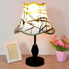 Simple And Fashion LED Table lamp, Golden Fabric Shade & Distorted Shape Compressed Wooden base Decorative Desk Lamp Abajur