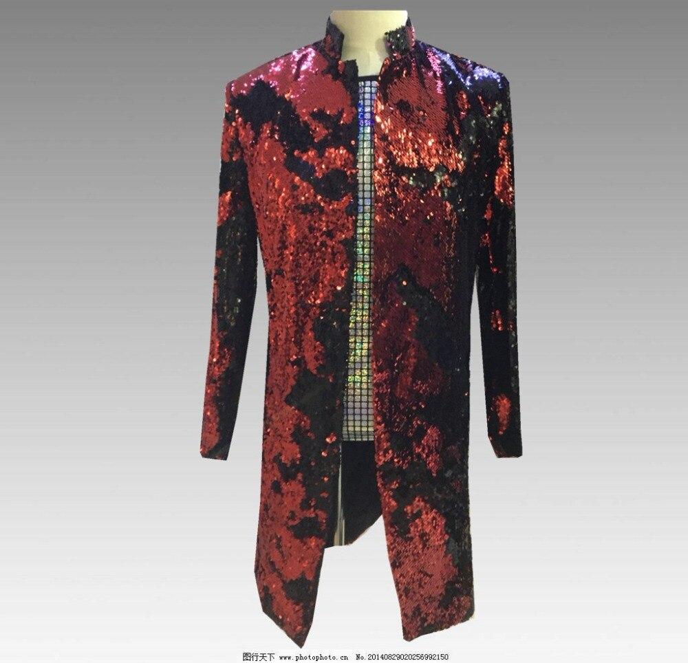 Paillettes scintillantes décontracté Slim hommes veste discothèque scène hôte tenue hommes chanteur DJ DS Show longue veste magicien spectacle tenue manteau