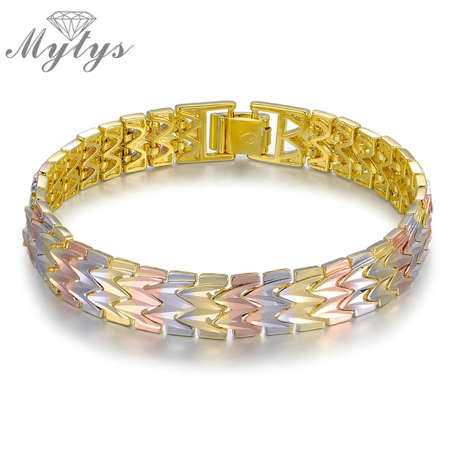 Mytys Gradient Three Color Gold Plated Bracelet Band M Chain Grey Rose Gold Yellow Color Metal Gold Bracelet B1047
