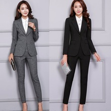 2020 Fall Winter Formal Fashion Black Blazer Women Business Suits Pant and Jacke