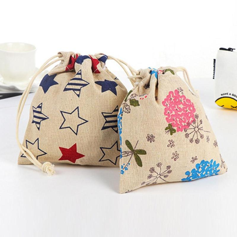 Kawaii Canvas Drawstring Coin Purse Small Cartoon Printing Change Pouch Mini Storage Money Key Coin Bags for Girls Lovely Bag 5