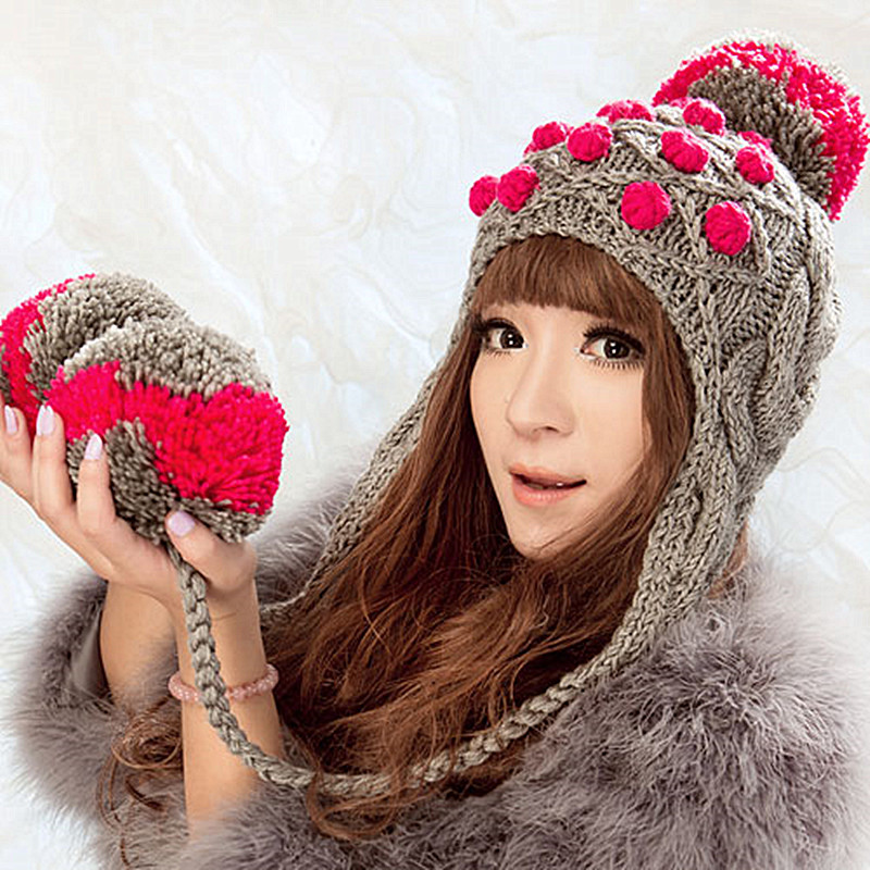 bomhcs cute women s fashion autumn winter warm crochet beanie handmade ear muff knitted hat cap with letters BomHCS Cute Women's Thick Cable Multicolor Handmade Knitted Beanie Cap Ear Muff Warm Hat with Soft Pom